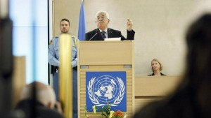 Palestinian President Abbas gestures as he addresses the special meeting of the Human Rights Council at the United Nations European headquarters in Geneva